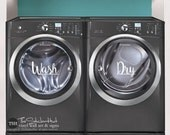 Wash Dry - Laundry Room Decor - Vinyl Lettering - Removeable - Washer Dryer Decor - Wall Art Words Text Door Sticker Decal 1889