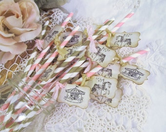 Carousel Horse Party Straws w/Tags - Choose Straw & Ribbons - Set of 18 - Birthday Baby Shower Circus Carnival Bridal