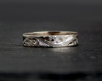 14k White Gold Engraved Band: size 7, 4mm wide, handcarved ring, vintage British jewelry, hallmarked 1984 London, swirls and flourishes