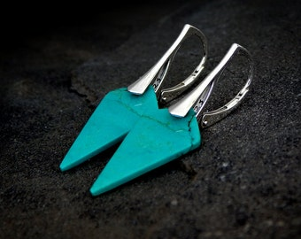Turquoise Dagger Earrings: Sterling Silver, fancy shape gemstone point, green and silver, natural turquoise, December birthstone, arrowhead