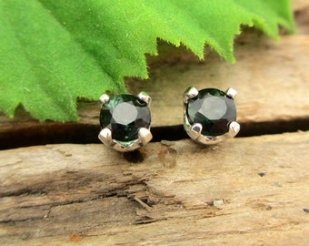 Black Green Tourmaline Earrings in Gold, Silver, or Platinum with Genuine Gems, 3mm - Free Gift Wrapping