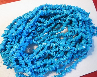 """Turquoise Beads, Blue Turquosie Beads, Small Chip Nugget, Imitation Turquoise Beads, Boho Beads, 3-5mm - QTY One 34"""" Strand - tq475"""