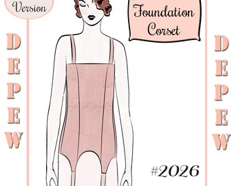 Vintage Sewing Pattern Ladies 1910's - 1920's Style Foundation Corset Multisize Depew #2026 -PAPER VERSION-