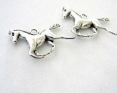 Large Running Horse Charms Set of 2 Silver Color 38x34mm Three Dimensional 3D Horse Charms