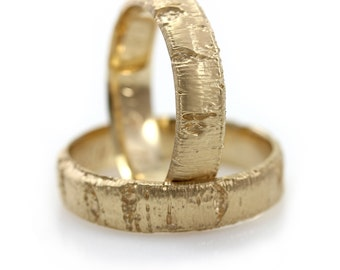 Aspen Bark Yellow Gold Wedding Band Set in 10k-18k Gold, Palladium, Tree Bark Wedding Ring Set, Hers and Hers Rings, His and His Rings