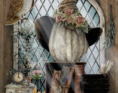 Autumn Decor - Pumpkin Art - Owl Decor - Rustic Fall Decor - Pumpkin Decor - Witch Hat - Witch Art - Wiccan - Witchcraft - Witch Spells