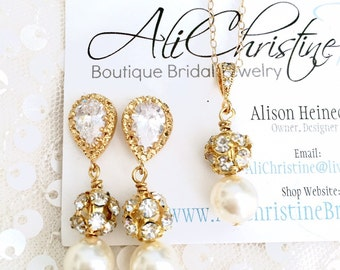 Pearl Bridesmaid Jewelry Set, Swarovski Pearl and Fireball Jewelry // Cubic Zirconia Bridal Bridal Party