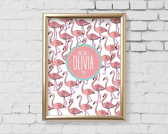 Flamingo Nursery Art Print, flamingo Nursery wall art, Digital Personalized Wall Art, Kids Room, Custom Kids Monogram Digital File - 180
