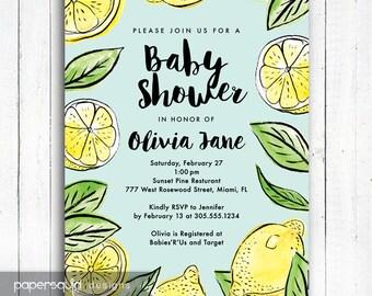 Lemon Baby Shower Invitation, Lemon Invitation, Lemon Illustration Invitation, Color Options, Personalized Digital Printable File,  Item 190