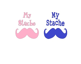 MY Stache decal for money jar shipping included