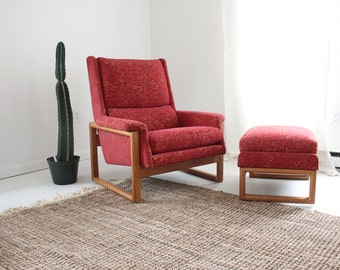 Oversize Danish Modern Lounge Chair w/ Ottoman