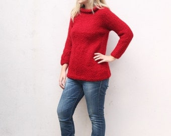 Red knitted sweater for women, women's sweater, women's jumper, hand knitted jumper, knit sweater, knitted jumper, big knit