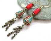 Shoulder Duster Earrings. Turquoise, Red Coral, Brass Tibetan Beads. Extra Long Boho Tribal Dangles with Chain. Oxidized Brass Hoop Earwires