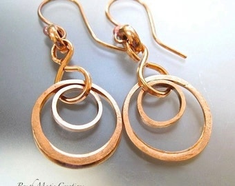 Rustic Copper Earrings, Abstract Jewelry, Circle Earrings, Abstract Earrings, Circle Jewelry, Copper Jewelry, Geometric Earrings