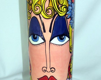 Tall Cylindrical Ceramic Vase Hand-painted Lady's Impressionistic Face and Flowers on ETSY