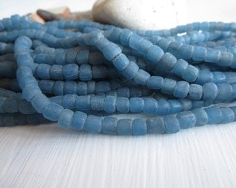 small matte blue seed beads, rustic  blue glass bead, Irregular spacer , barrel tube, New Indo-pacific  3 to 6mm / 22 in strand,5A4-31