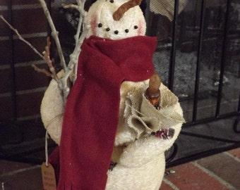 Snowman primitive snow wishing
