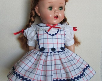 For 16 Inch Saucy Walker Doll - Red, White and Blue Plaid 3 Button Jumper Dress