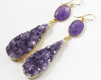 Purple Amethyst Dramatic Teardrop Statement Earirngs Gemstone Earrings February Birthstone Amethyst Druzy Crystal Earirngs AM-E-105-P/P