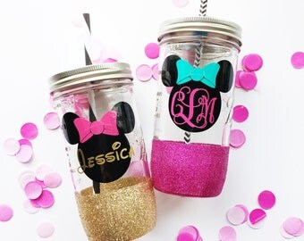 Monogrammed Minnie Mouse /// Glitter Mason Jar Tumbler // Glitter Tumbler // Glitter Glass