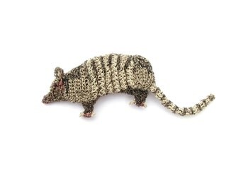 Armadillo brooch - animal brooch, crochet wire jewelry, armadillo jewelry, animal pin, figural animal, metalwork, handmade