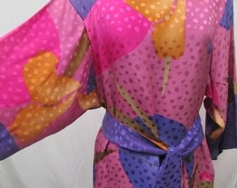 Vintage 1980's Shift Dress Designer Flora Kung Silk Dress Japanese Inspired Vibrant Pattern & Colors