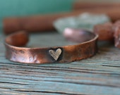 Solid Copper Cuff Bracelet with sterling silver heart thick gauge copper personalized