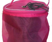 SALE! Dafi Fuchsia Yarn Case, Yarn Storage Basket, Knitting Yarn Round Plastic Bag for On-the-go-knitter and Traveling - Small - for 1 skein