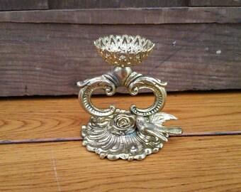 Vintage Ornate Gold Toned Filigree Pedestal Ring Holder
