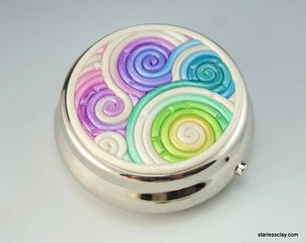 Pastel Rainbow Pill Box in Polymer Clay Filigree