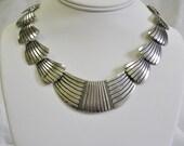 Tribal Bib Necklace, Sterling Silver, Handmade, Native American, Vintage. Item N13