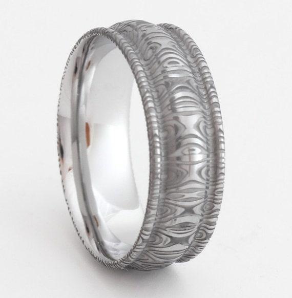 Damascus steel ring White Opal ring Rings for women Mens ... |Damascus Steel Rings For Women