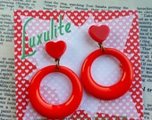 Vintage Valentine Sweater girl drop hoop earrings in red with red hearts handmade 50s style by Luxulite