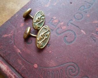 victorian art nouveau repousse brass cuff links - dapper gentlemen fathers day gift - antique jewelry
