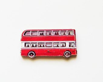 1960s Red Double-Decker Bus Brooch - Pin / Upcycled Wood Road Vehicle Puzzle Piece / Routemaster Bus Fashion Accessory / Gift Under 30