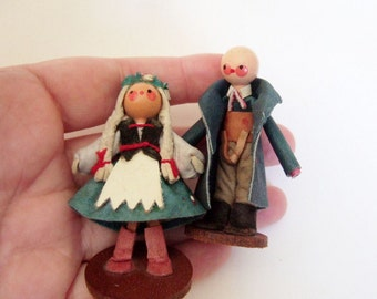 Vintage Polish Dolls Made of Leather - Cute Girl and Boy in Traditional Folk Costume