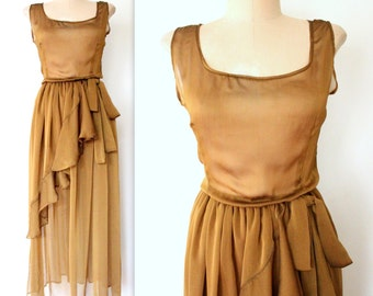 Sheer Chiffon Dress / SHEER BRONZE Dress / Ruffled Metallic Maxi Dress