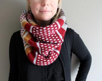 knit infinity scarf - WINSLOW - OOAK knit cowl - fair isle - oversized