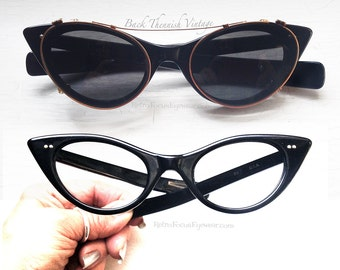 50's Duo Classic Pin Up Cat Eye Eyeglass Frames Black w Grey Clip on Sunglasses Back Thennish Vintage