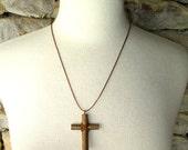 Wood Cross Pendant of Rustic Willow