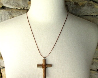Wood Cross Pendant of Rustic Willow