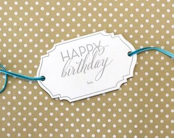 Happy Birthday Letterpress Gift Tag - Set of 3