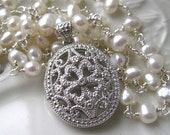 On hold do not purchase Sterling Filigree Locket and Pearl Necklace-Diamond accents-Clover design-Made to Order