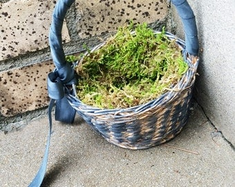 Very Small Dark Grey Flower Girl Basket with Moss Ready to Ship, Upcycled Basket Gray Wedding
