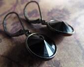 SALE Sparkling Jet Black Swarovski Crystal, Gunmetal Leverback Earrings