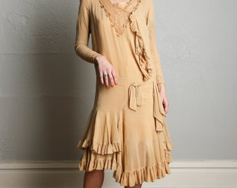 SALE- 1920s Flapper Dress Tan Ruffle Antique Gown