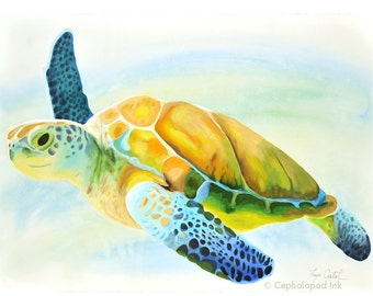 Sea Turtle Gouache / Watercolor Print, wildlife art, sea life decor, nursery wall art, animal fine art, ocean painting