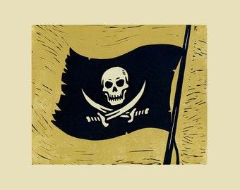 Jolly Roger PIRATE FLAG Handmade Lino Block Print