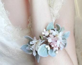 wrist corsage bracelet, bridal cuff, bridesmaid corsage wrist, bridesmaid cuff bracelet, pastel, rustic wedding jewelry, woodland wedding