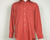 Champion Westerns Terracotta Orange Cowboy Shirt Mens 1970s L